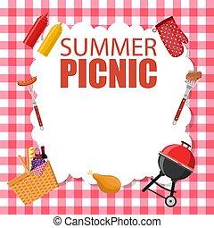 パーティー, ピクニック, カード, 招待