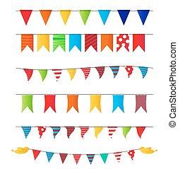 パーティー, ベクトル, セット, 旗, イラスト