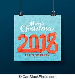 パーティー, ベクトル, poster., クリスマス