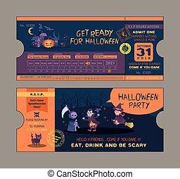パーティー, 切符, ハロウィーン, カード, テンプレート