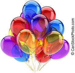 パーティー, 多色刷り, birthday, 風船