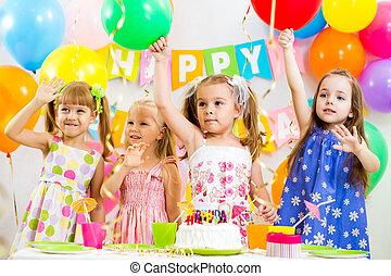 パーティー, 子供, グループ, birthday