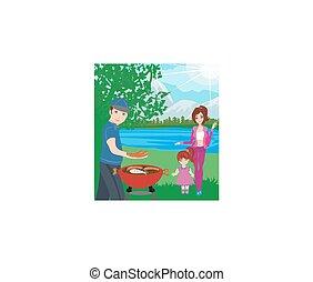 パーティー, 家族のbbq, picnic.