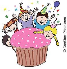 パーティー, 巨人, 子供, 招待, cupcake