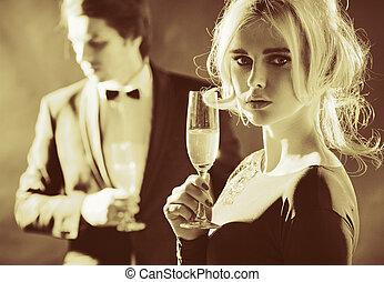 パーティー, 恋人, 贅沢, 肖像画