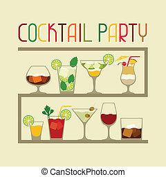 パーティー, 招待, 飲み物, アルコール, cocktails.