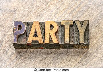 パーティー, 木, タイプ, 単語