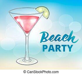パーティー, 浜, テンプレート, ポスター