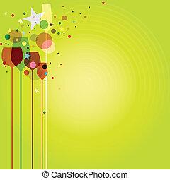 パーティー, 緑, ガラス