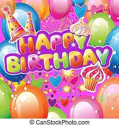 パーティー, 要素, カード, birthday