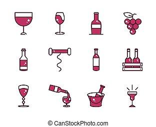 パーティー, 飲料, 満たされた, ワイン, でき事, 飲みなさい, 祝福, コレクション, 線, アイコン