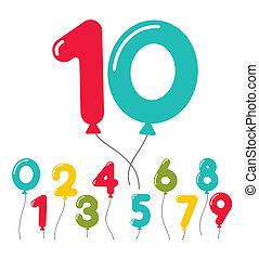 パーティー, balloon, セット, birthday, 数