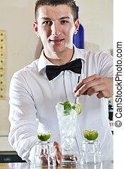 パーティー, barman, 飲みなさい, 準備しなさい, プロ, coctail