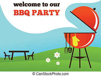 パーティー, bbq, 招待