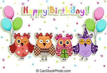 パーティー, birthday, セット, フクロウ