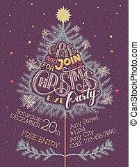 パーティー, hand-lettering, クリスマスイブ