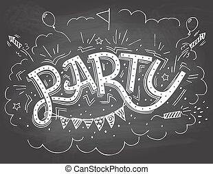 パーティー, hand-lettering, 招待
