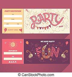 パーティー, hand-lettering, 招待, tic