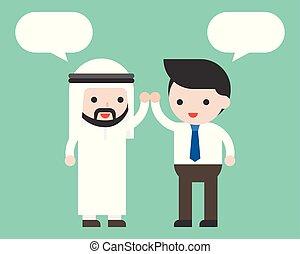 パートナー, アラビア人, 概念, co, ビジネス, 労働者, 高く, ビジネスマン, スピーチ, テンプレート, ...