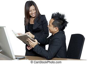 パートナー, 仕事, ビジネスオフィス, コンピュータ