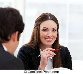 パートナー, 微笑, 見る, カム