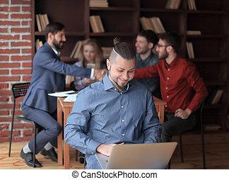 パートナー, 握手, デザイナー, ビジネス, 仕事, laptop.photo, 背景