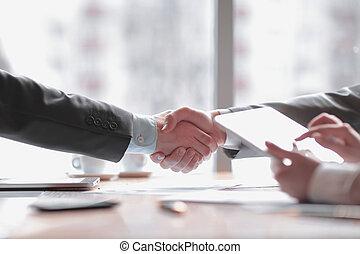 パートナー, 握手, ビジネス, タブレット, コンピュータ, 背景, ビジネスマン