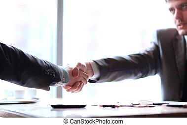 パートナー, 握手, ビジネス, up.a, デスクトップ, 確信した, 終わり