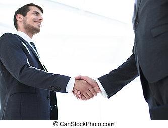 パートナー, 握手, 少ないビジネス, バックグラウンド。