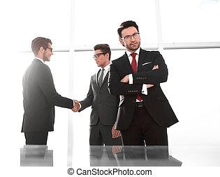パートナー, 握手, 背景, ビジネス, ビジネスマン