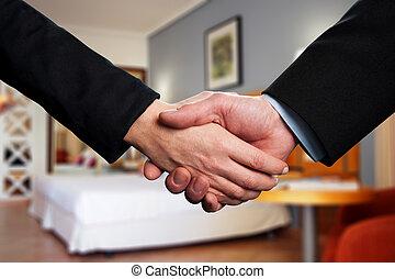 パートナー, 握手, 2, ビジネス, ∥間に∥