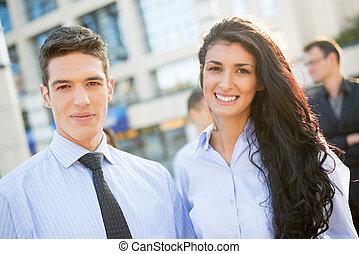 パートナー, 若い, ビジネス, ハンサム