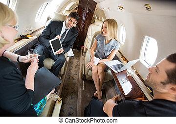 パートナー, 飛行機, ミーティング, 私用, ビジネス