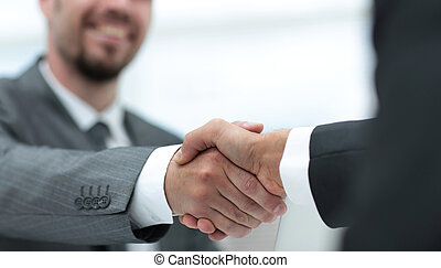 パートナー, .handshake, クローズアップ, ビジネス, 机