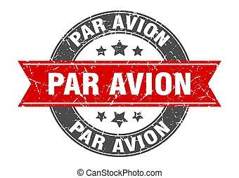 パー, 切手, 印, ラウンド, ラベル, avion, ribbon.