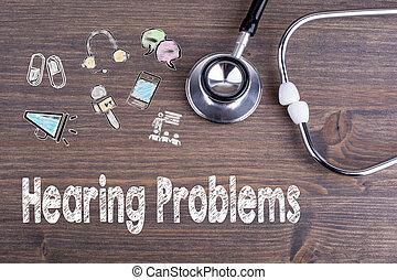 ヒアリング, problems., 仕事場, の, a, 医者。, 聴診器, 上に, 木製の机, 背景
