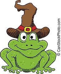 ヒキガエル, 隔離された, 緑, 魔女, 白い帽子, 漫画