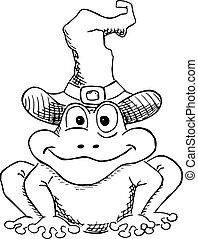 ヒキガエル, 隔離された, 魔女, 白い帽子, 漫画