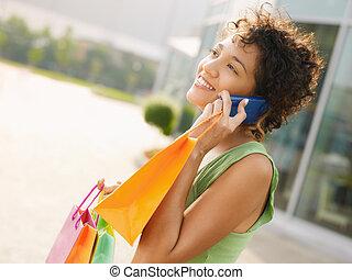 ヒスパニックの 女性, ∥で∥, 買い物袋