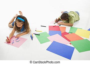 ヒスパニック, 女の子, coloring., 男の子