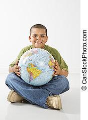 ヒスパニック, 微笑, globe., 保有物, 男の子