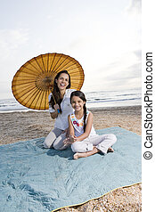ヒスパニック, 母, そして, 若い娘, 楽しい時を 過すこと, ∥において∥, 浜