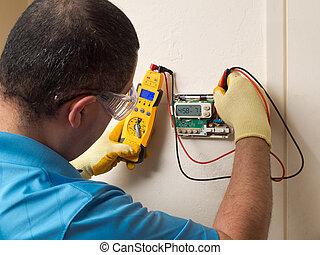 ヒスパニック, handyman, 修理人, 指揮する, 住宅の, hvac, 修理