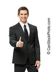 ヒッチハイクすること, ビジネスマン, 半分長さ, の上, 肖像画