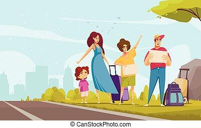 ヒッチハイクをする, 家族, イラスト