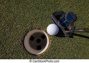 ヒッティング, ゴルフボール, へ, 穴