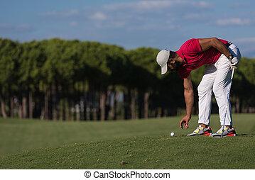 ヒッティング, プレーヤー, 打撃, 長い間, ゴルフ