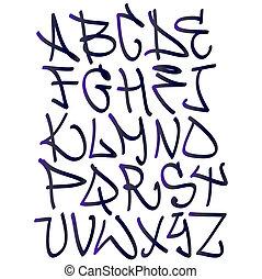 ヒップ, grafitti, アルファベット, letters., 落書き, ホツプ, デザイン, 壷, タイプ