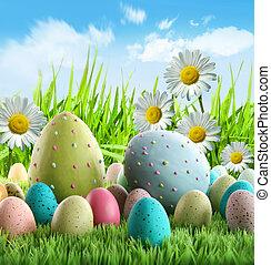 ヒナギク, イースター, カラフルである, 卵