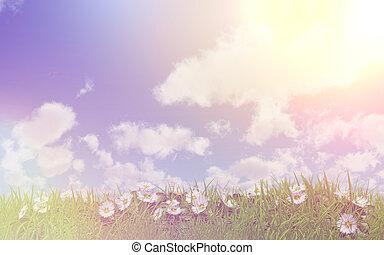ヒナギク, 中に, 草, 上に, a, よく晴れた日, ∥で∥, レトロ, 効果